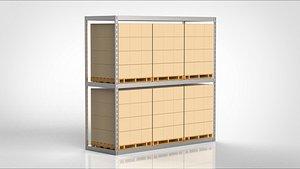 3D warehouse shelf model