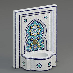 3D fountain moroccan mosaic model