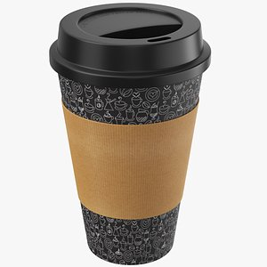 3D Black Paper Coffee Cup model