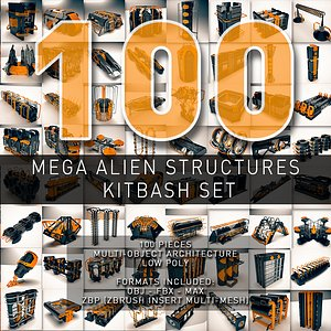 alien structures - kitbash 3D model