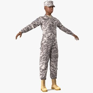 3D black female soldier acu model