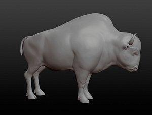 3D Bison base mesh model