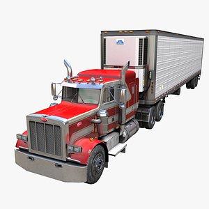 Peterbilt 359 refrigerated van trailer PBR 3D model