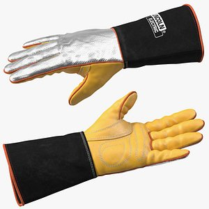 Lincoln Electric Reflective Welding Gloves Rigged 3D