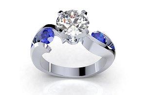 engagement ring trilogy design 3D