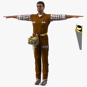 3D Afro American Woodworker T Pose