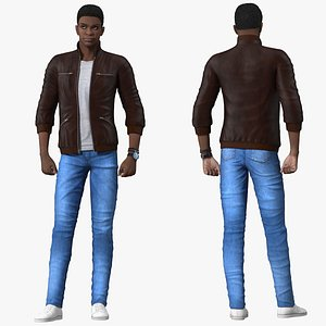 3D Teenager Dark Skin Street Outfit Rigged for Maya