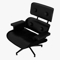 Eames Lounge Classic Chair Black Leather Black Mahogany Details