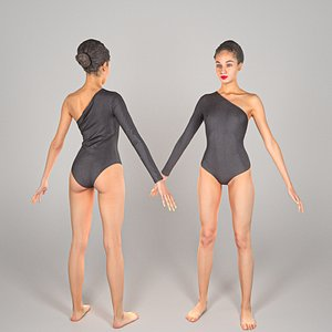 scanned young woman bodysuit 3D model