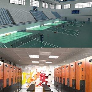 3D Badminton Stadium and Locker Room model