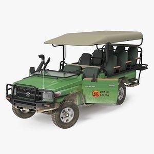3D Toyota Land Cruiser Safari Open Sided Green Dirty Rigged