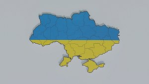 Political Map of Ukraine 3D