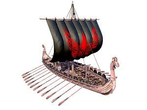 Long Viking Ship 3D model