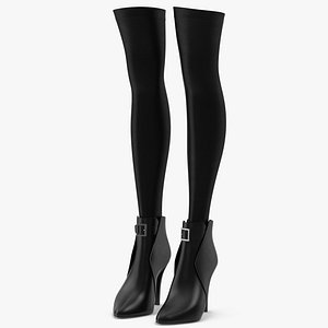 3D Leather Boots with Stockings 2 model