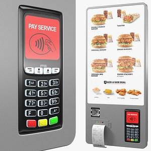 3D Restaurant Self Ordering Kiosk Wall Mounted