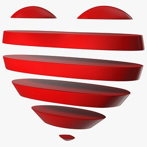 Heart with Transparent Horizontal Lines 3D model