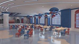Kindergarten school classroom seats 3D