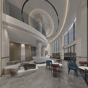 hotel lobby reception 3D model