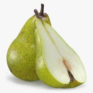 3D Whole and Half Pear model