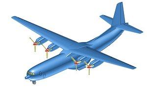 Douglas C-133B Cargo Aircraft Solid Assembly Model 3D