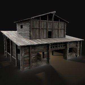 3D house medieval granary model