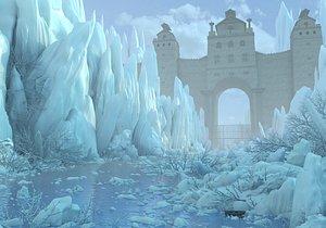 3D Fantasy Winter Asian Gate Castle model
