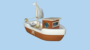 3D Cartoon Boat 10 Wood Luxury - Low Poly Ship