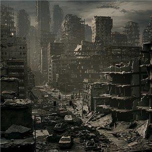 city destroyed 3D model