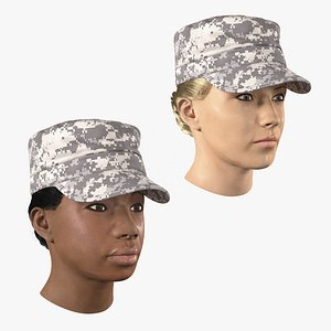 Female Soldier Heads Collection 3D