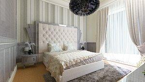 3D bedroom room bed