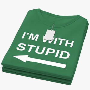 Female Crew Neck Folded Stacked With Tag Green Im With Stupid 02 3D model