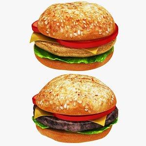 chicken burger cheese 3D model