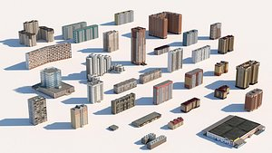 Russian Building Pack of more than 30 buildings 3D model
