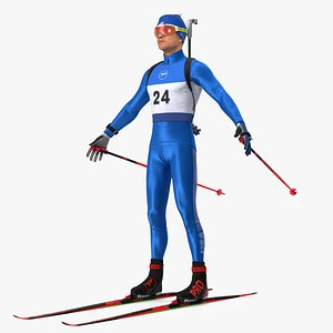 3D Biathlete Fully Equipped USA Team Rigged