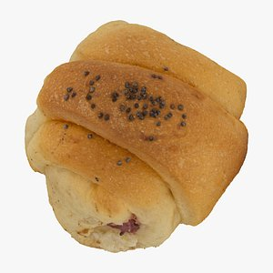 3D model puff pastry roll jam