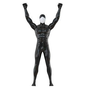 3D black mannequin white mask
