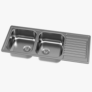 3D Double Bowl Stainless Steel Sink with Drainboard model