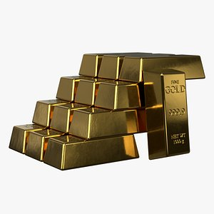 Gold bar model High Poly 3D