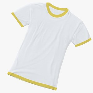 3D model Female Crew Neck Laying White and Yellow 02
