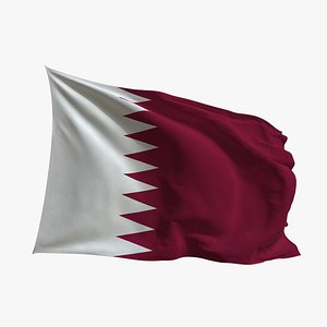 3D Realistic Animated Flag - Microtexture Rigged - Put your own texture - Def Qatar