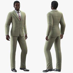 3D dark skin black man