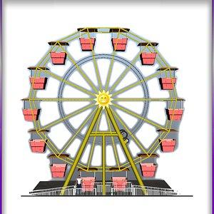 Classic carnival Ferris Wheel 3D
