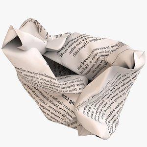 crumpled ball paper print 3D model