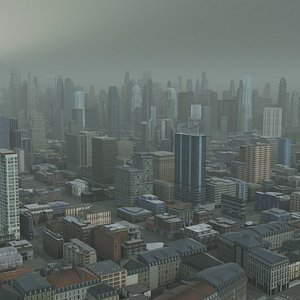 3D model Foggy City