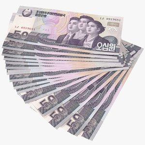 Fan of North Korea 50 Won Banknotes model