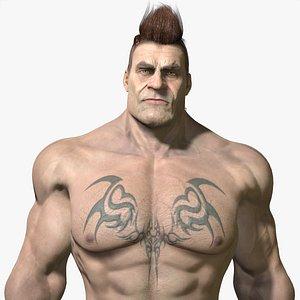 3D model muscular strong male