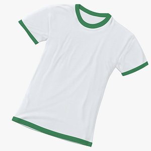 3D Female Crew Neck Laying White and Green 02