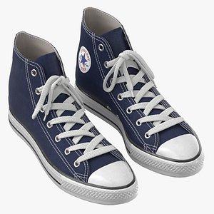 3D Basketball Shoes Dark Blue model
