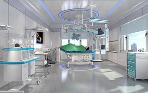 Setting up the operating table of obstetrics and gynecology medical equipment in hospital operating model