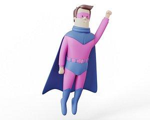cartoon superhero 3D model